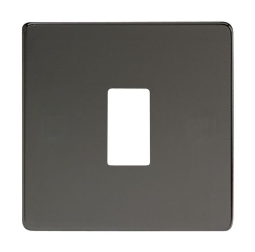 Varilight XDIPGY1S Screwless Iridium Black 1 Gang PowerGrid Plate (Single Plate)